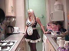 Sexy uk blonde kaz b enjoys some french maid outfit roleplay fun