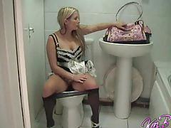 erotic, strip, kazbxxx.com, roleplay, french maid, uniform, tights, hose, heels, british, blonde, cleaning, pee