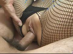 Yurika gotou in fishnet widen her legs before her boyfriend
