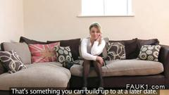 British blonde pussy fucked during a casting