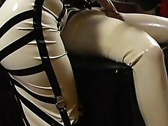 fetish, tube8.com, brunette, femdom, rubber, latex, shaving, jerk off, handjob, busty, big tits