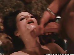 blowjob, classicporndvds.com, vintage, classic, brunette, natural tits, sucking dick, hairy, cum in mouth, petite