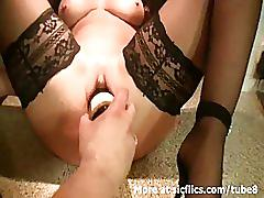 amateur, sicflics.com, stockings, counter, kitchen, fisting, blonde, pierced pussy, big tits, heels, bottle, shaved pussy