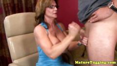 Granny mature tugger spoils a dick with some attention