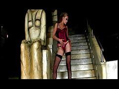 Watch this blonde bombshell seductively walk down the stairs!!