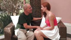 Grandpa loves cute teen redhead