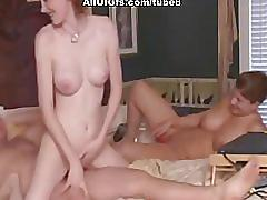 Threesome sex with creampie and cum eating