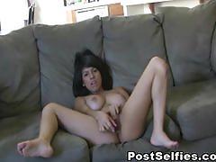 Busty sexy babe masturbates with a dildo