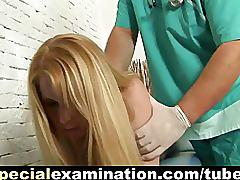 Horny gynecologist and shy blonde babe