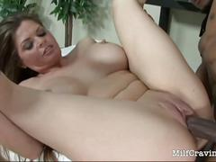 Gorgeous milf with big tits rides big black cock