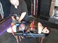 fetish, tube8.com, softcore, busty, big tits, brunette, sheer, tied, bound, restrained, heels, bondage, fingering, spanking