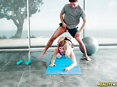 teen, blonde, big ass, big tits, big cock, blowjob, workout, titjob, ball sucking, in gym, monster curves, reality kings, brad knight, giselle palmer
