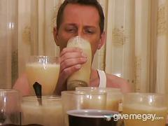 Nasty dude gulps for tons of cum juice