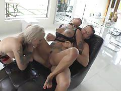 Rocco and two anal tattooed girls - best hard anal clip
