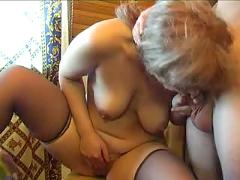Mature in stockings fucks her boy