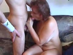Mature chubby mom with young boy