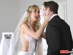 Kinky milf brandi love in her wedding dress fucking with bella rose and her bf