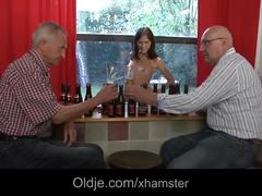 Young waitress anal fucked by two old men for bar cum shot