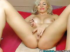 Stunning busty blonde licks her own pussy juices