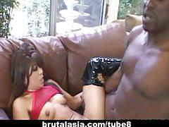 Asian whore max mikita brutalized with a giant cock