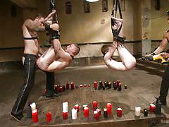 threesome, bdsm, anal insertion, anal sex, suspended, leather pants, candles, gay, drill, bound gods, kink men, van darkholme, seamus o'reilly, doug acre, christian wilde