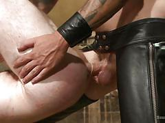 Two hanged gay getting their asses drilled