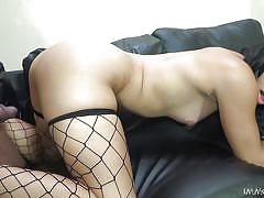 Whore in black fishnet is hungry for a bbc