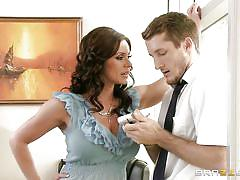 milf, blonde, threesome, big cock, glasses, office, blowjob, busty, brunette, undressing, at work, milfs like it big, brazzers network, brick danger, kendra lust, phoenix marie
