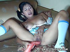 babe, asian, solo, masturbation, uncensored, dildo, sextape, black hair, my cute asian
