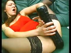 Slut fucks her big cunt with various objects