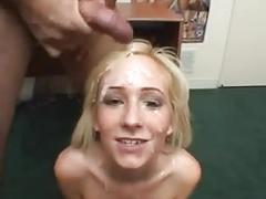 Blonde slut gets huge facial bukkake