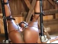 Woman gets her cunt, spanked, clamped and waxed wf