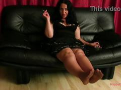 Alisa smokes in nylon soles