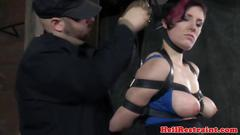 Breast bondage sub slut getting spanked and she likes it