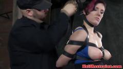Breast bondage sub slut getting spanked and she likes it