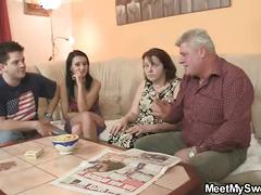 Innocent girl is seduceed by granny and fucked by daddy