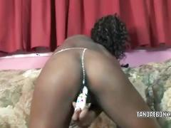 Ebony cutie anastasia stuffs her twat with a toy