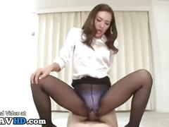 Japanese sensual babe fucks with clothes