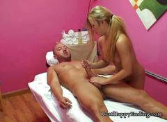 Blonde masseuse gets dirty with her client