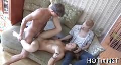 Beauty fucked before her cuckold bf