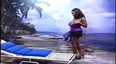 Midget lifeguards punish an ebony sunbather