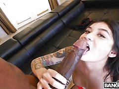 His huge black cock barely fits in her pussy