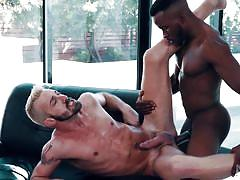 interracial, black, blowjob, muscular, from behind, anal, sideways, tattooed, bbc, noir male, pheonix fellington, jett rink