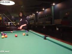 Jeny smith playing pool