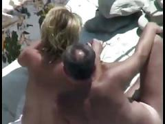 Nude beach - hot matures fingering & fucking