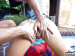 big ass, big tits, outdoor, rimjob, face sitting, pussy licking, bubble butt, fingering, from behind, swimming area, big tit cream pie, bangbros, kyle mason, brooke beretta