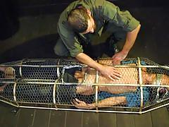 bondage cage, bdsm, torture, handjob, big cock, face fuck, punishment, bound gods, kink men, max ferro, joseph banks