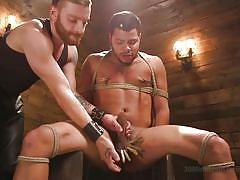 bdsm, cock torture, handjob, rope bondage, interracial, nipple pinching, clothespins, ebony, canning, 30 minutes of torment, kink men, kaden alexander
