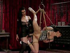 Bound tranny gets brutally fucked