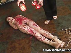 bdsm, babe, torture, asian, slave, domination, brunette, rope bondage, candle wax, asians bondage